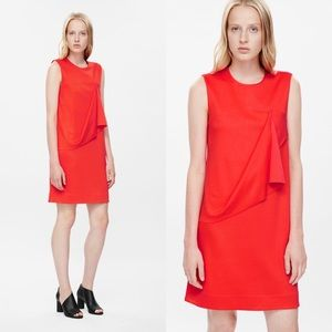 HP🎉 COS Red Orange Minimalist Draped Jersey Dress